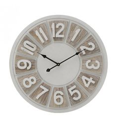 WOODEN WALL CLOCK IN CREME_NATURAL COLOR D50X5