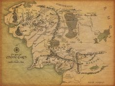 Large Canvas Wall Art - Lord Of The Rings Middle Earth Map