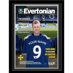 Everton Personalised Magazine CoverSign for Everton & Become the Next Goodison Park Superstar.    Your name is merged onto the shirt held by David Moyes & into the headline front page story of the Official Everton magazine cover. Presented in a stylish contemporary frame.    Height: 443mm.  Width: 343mm. David Moyes, Goodison Park, Contemporary Frames, Soccer Gifts, Everton Fc, Soccer Fans, Played Yourself, Your Name, Gifts For Boys