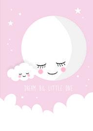 Met deze lieve ;maan poster ;boven het bedje, gaat je ;baby lekker dromen. De ;poster in zacht roze ;met een witte maan, wolkje en sterren ;is een eyecatcher in de babykamer.