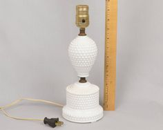 Bedroom lamp, Milk glass lamp, Hob nail lamp, Vintage feminine lamp, Mid century lamp, Milk glass lamp by eyespytreasure on Etsy
