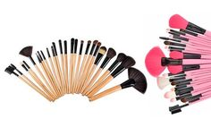 image for Makeup Brush Kit in Creme or Pink with Vegan-Leather Case (24 Piece)