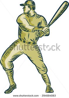 Etching engraving handmade style illustration of an american baseball player batter hitter holding bat batting viewed side on set on isolated white background.