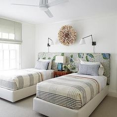 Two Twin Beds on Shared Headboard