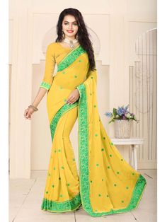 Indian ethnic Party wear Resham work embroidered Georgette Saree with Blouse #Shoppingover #SariSaree
