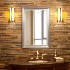 Howard Elliott Collection 36 in. x 24 in. x 1 in. Brushed Nickel Rectangular Vanity Framed Mirror 53048 - The Home Depot Traditional Wall Mirrors, Wall Mounted Mirror, Beveled Glass, Frames On Wall, Framed Wall, Oil Rubbed Bronze, Transitional Style, Brushed Nickel, Nickel Finish