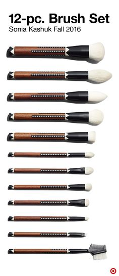 This 12-pc. makeup brush set from Sonia Kashuk's Fall '16 collection puts any makeup look at your fingertips. The limited-edition set includes a powder/blush, tapered powder, small powder, pointed foundation, flat contour, precision concealer, domed shadow, angled fluffy shadow, fluffy shadow/blending, precision crease, smudge and lip brush, along with a brow groomer. Because tools should be pretty, too.