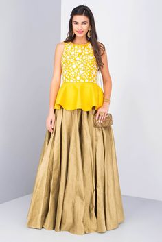 0447afff99cca MISE A  JOUR BY SHILPA Silk peplum top with rasham embroidery with gold silk  skirt
