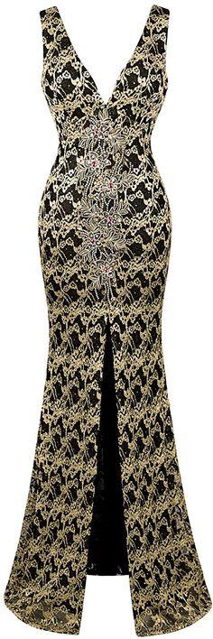 Angel-fashions Women's V Neck Floral Applique Split Wrap Sheath Dress *** Details can be found  : Evening dresses