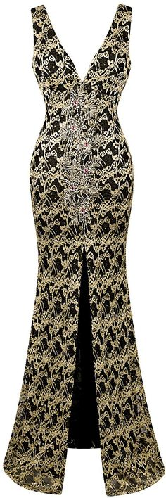 Angel-fashions Women's V Neck Floral Applique Split Wrap Sheath Dress * Unbelievable  item right here! : homecoming dresses