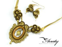 Gold embroidery jewelry Set Soutache Jewelry Gold by anatydesign