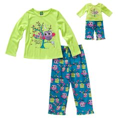 """""""Who-Whoo's Sleepy?"""" Owl-Theme Two-Piece Pajama Set with Matching Outfit for 18 inch Play Doll"""