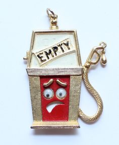 Vintage 1970's Comical JJ Signed Googly Eye Empty Gas Station Pump Pendant by paststore on Etsy