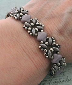 Linda's Crafty Inspirations: Bracelet of the Day: Sandra Silky Bracelet - Lilac & Silver
