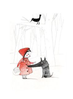 Giclee print, Little red riding hood and the wolf , black and red