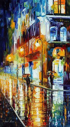 City Of Rain — Palette Knife Cityscape Scene Wall Art Oil Painting On Canvas By Leonid Afremov. Size: X Inches cm x 90 cm) City Painting, Oil Painting Abstract, Painting Art, Watercolor Artists, Painting Lessons, Art Oil Paintings, Watercolor Painting, Landscape Paintings, Painting People