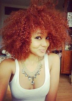 Red hair with a hint if orange . Black girls with red hair Natural Hair Journey, Natural Hair Care, Natural Hair Styles, Natural Curls, Love Hair, Gorgeous Hair, Pretty Hair, Big Hair Dont Care, Pelo Natural