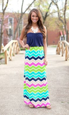 The Pink Lily Boutique - Good Times Chevron Maxi, $39.00 (http://thepinklilyboutique.com/good-times-chevron-maxi/)