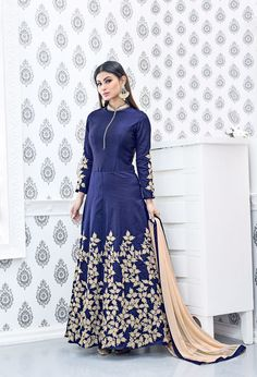 Mouni Roy Navy Designer Semi Georgette Salwar Kameez, latest huge collction of Trendz of Bollywood Celebrity mouni roy roles salwar kameez online buy with best rate here only at Maysha Fashion Designer Salwar Suits, Designer Dresses, Mouni Roy Dresses, Long Anarkali, Salwar Kameez Online, Bridal Lehenga Choli, Kurta Designs, Latest Outfits, Bollywood Celebrities