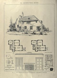 Vintage House Plans, Modern House Plans, Small House Plans, Vintage Houses, Ranch House Plans, Craftsman House Plans, House Floor Plans, Vintage Architecture, Japanese Architecture
