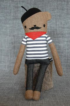 french bear doll, with striped shirt, kerchief, and beret - of course!