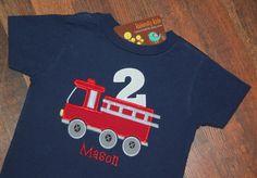 Fire Truck Birthday Shirt, Firetruck Birthday Shirt, Boys Birthday Shirt, Firetruck Birthday, Navy Blue by KalamityKids on Etsy https://www.etsy.com/listing/128524321/fire-truck-birthday-shirt-firetruck