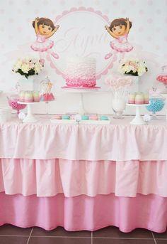 Not a Dora fan, but I do like the idea of a ruffled table cloth!