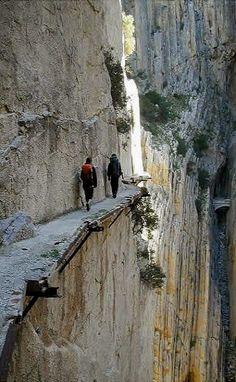 El Camino del Rey (King's pathway), Málaga, Spain.  my dream to walk this!