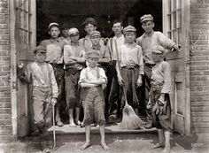 "May 1912. ""Some of the boys working in the Saxon Mill. Spartanburg, South Carolina."" Photo by Lewis Wickes Hine."