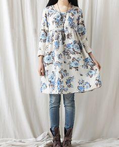Cotton print dress/ casual loose dress/ doll long shirt by MaLieb, $85.00