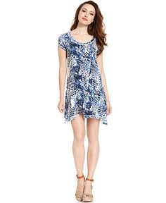 Kensie leopard swirl shirt dress