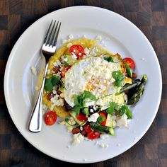 Polenta Huevos Rancheros with Asparagus - Pinch and Swirl