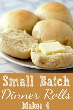 These fresh, hot out of the oven homemade dinner rolls smell and taste amazing! This small batch of buttery rolls bakes up soft and tender. This easy recipe makes just 4 rolls and is a perfect side dish for so many recipes ranging from easy weeknight casseroles, steak, chicken, pork or Thanksgiving Dinner for two. #DinnerRolls #SmallBatch #DinnerForTwo #SideDish #bread