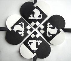 SET OF 4 Vikings Ship Woven Heart Decoration or Christmas Ornament Nordic Scandinavian Traditional Paper Julehjerter