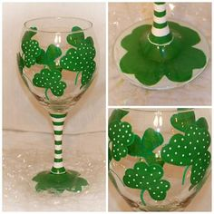 St. Patrick's Day Handpainted Shamrock Wine by SunnyBelleDesigns, $16.00