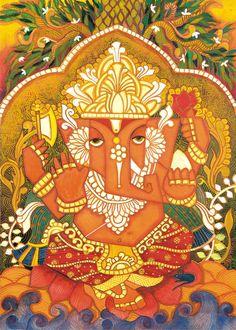 PurnimaArt: Ganesh Paintings Worli Painting, Kerala Mural Painting, Indian Art Paintings, Madhubani Painting, Paintings I Love, Lord Ganesha Paintings, Ganesha Art, Shri Ganesh, Krishna Radha