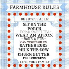 Free Farmhouse Rules Printable and a little tour