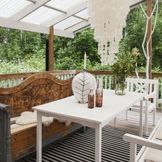outdoor space that has rougher and cleaner looks mixed well together Outdoor Rooms, Outdoor Gardens, Indoor Outdoor, Outdoor Living, Outdoor Furniture Sets, Outdoor Decor, Old Benches, Diy Deck, Decks And Porches