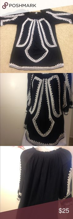 Zara Woman Black Beaded Blouse This is a beautiful blouse! It is a Zara Woman brand made in India. It is black with white beading through out the blouse. It is a size Large (US Size), double layered (an inner layer blouse), and has the following measurements: 20 inch bust, 18.5 inch sleeve and 27.5 inches length. No rips, no tears, no snags, no homes. In excellent condition. Zara Woman Tops Blouses