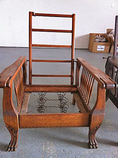 Original Antique Light Oak Large Morris Chair With Carved Claw Feet To Refinish & 58 best Morris Chair images on Pinterest | Morris chair Antique ...