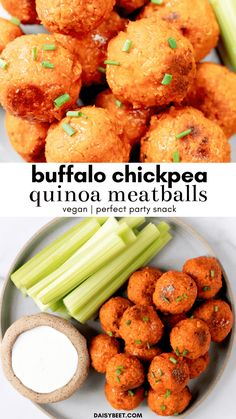 These vegan buffalo chickpea quinoa meatballs really hit the spot when you're craving something spicy! They're packed with flavor, fiber, and plant-based protein. Spicy Recipes, Whole Food Recipes, Vegetarian Recipes, Cooking Recipes, Healthy Recipes, Vegan Chickpea Recipes, Chickpea Meatballs Recipe, Vegan Meatballs, Quinoa Bites
