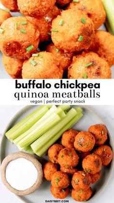 Buffalo Chickpea Quinoa Meatballs (Vegan) • Daisybeet Vegan Appetizers, Vegan Dinner Recipes, Vegan Snacks, Whole Food Recipes, Cooking Recipes, Whole Foods Vegan, Vegan Vegetarian, Vegetarian Recipes, Healthy Recipes