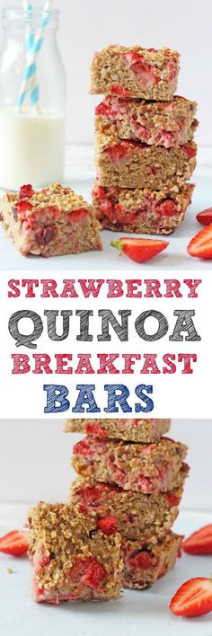 A delicious and filling breakfast bar recipe, packed full of healthy ingredients such as quinoa, oats, bananas and strawberries. These bars make the perfect nutritious start to the day for the whole family and are a great grab and go breakfast!