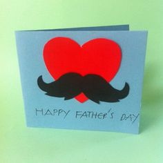 Red Heart with Mustache Father's Day Card