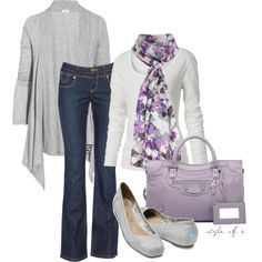 Purple and Gray - one of my favorite color combinations {by styleofe on Polyvore}