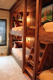 Traditional Bedroom Bunk Beds Design, Pictures, Remodel, Decor and Ideas - page 2 Bunk Beds Built In, Kids Bunk Beds, Bunk Beds For Adults, Adult Bunk Beds, Bunk Beds With Stairs, Cabin Homes, Log Homes, Wooden Wall Design, Bunk Rooms