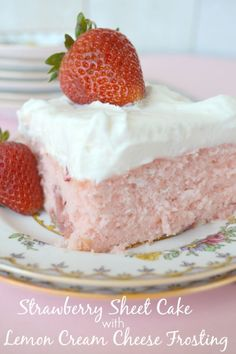 Strawberry Sheet Cake with Lemon Cream Cheese Frosting. This cake balances the sweet strawberry with a tart, lemon cream cheese frosting. Strawberry Sheet Cakes, Strawberry Cake Recipes, Strawberry Jello, Lemon Strawberry Cake, Strawberry Cake From Scratch, Strawberry Buttercream, 13 Desserts, Delicious Desserts, Dessert Recipes