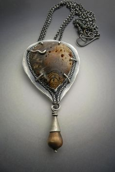 Hell's Canyon Petrified Wood Fine silver Pendant by vaasvara