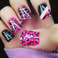Wild nails nails pink black leopard design polish animal print cheetah