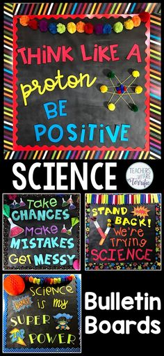 Science Bulletin Boards Templates for four boards with great ideas for elementary science displays and projects for classroom teachers Images are included to customize yo. Science Bulletin Boards, Classroom Bulletin Boards, Classroom Ideas, Classroom Door, Bulletin Board Ideas For Teachers, Elementary Bulletin Boards, Elementary Science Classroom, Bulletin Board Design, Preschool Bulletin